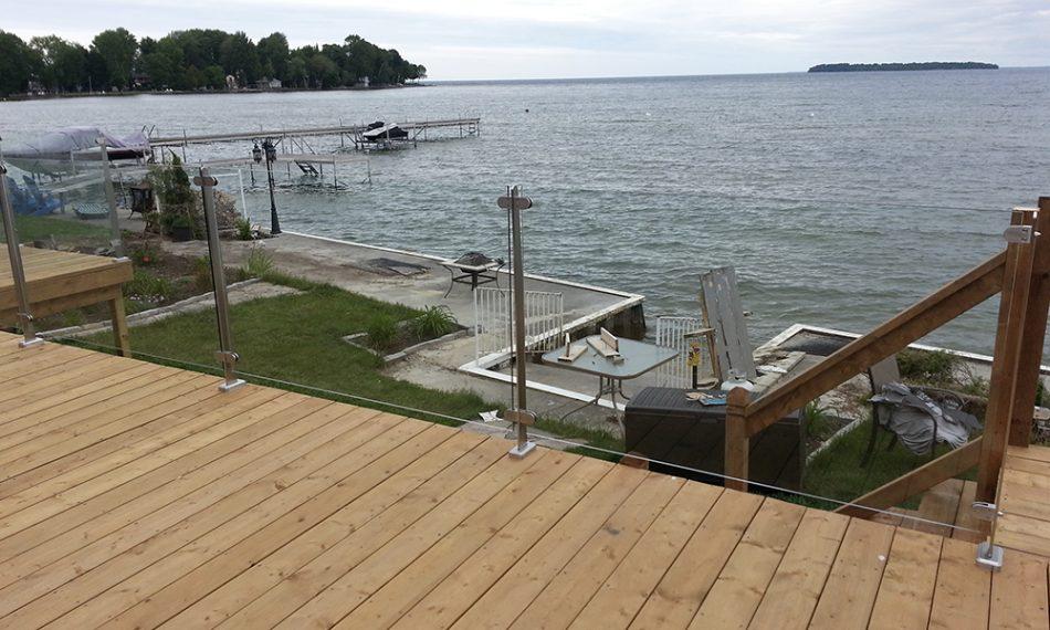 InvisiRail glass railing system at cottage